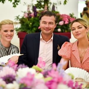 Lara Stone, Laurent Feniou, Jessica Hart,  the Cartier Queen's Cup Polo at Guards Polo Club