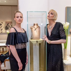 Nadja Auermann and her dauther Cosima Auermann, Bulgari Boutique Opening In Frankfurt Am Main